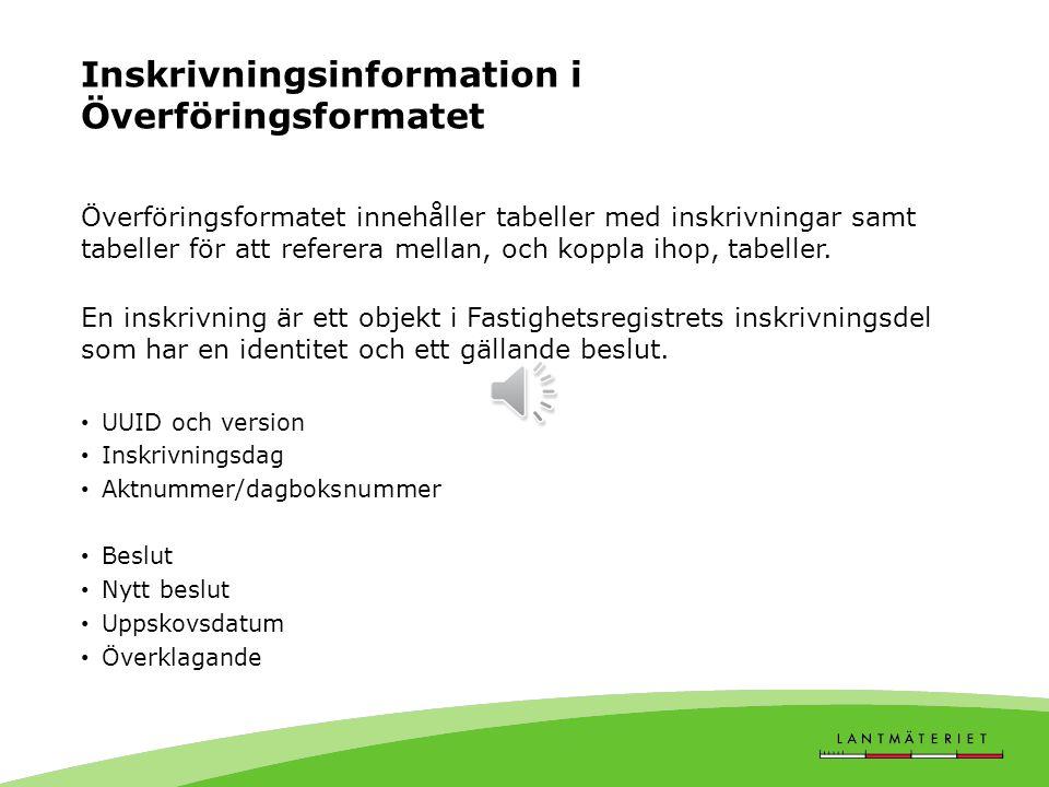 Inskrivningsinformation i Överföringsformatet Överföringsformatet innehåller tabeller med inskrivningar samt tabeller för att referera mellan, och koppla ihop, tabeller.