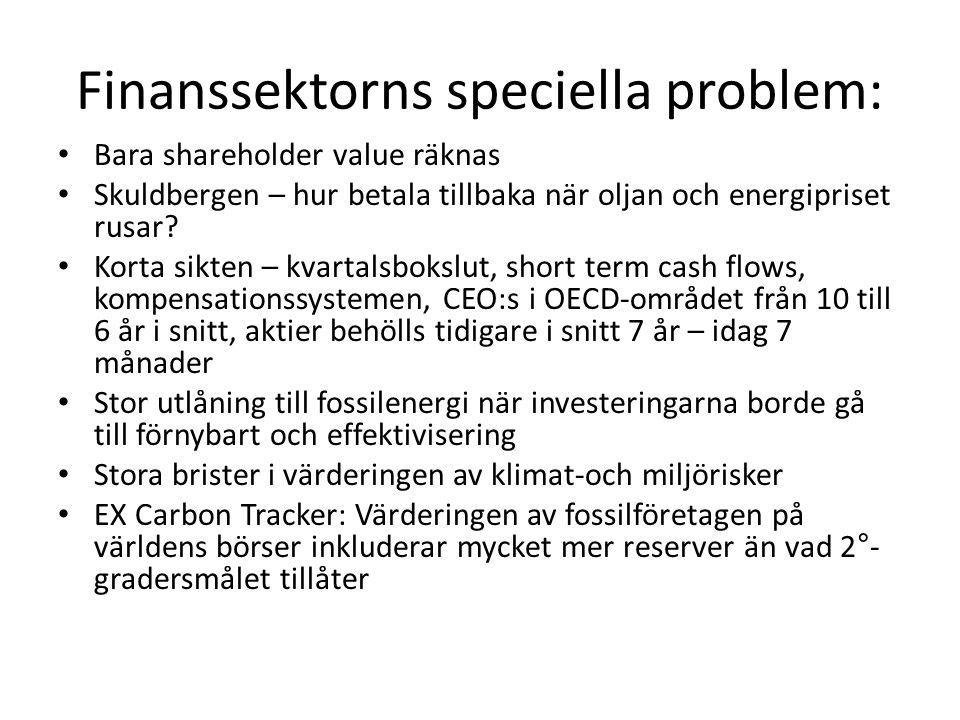 Finanssektorns speciella problem: • Bara shareholder value räknas • Skuldbergen – hur betala tillbaka när oljan och energipriset rusar? • Korta sikten