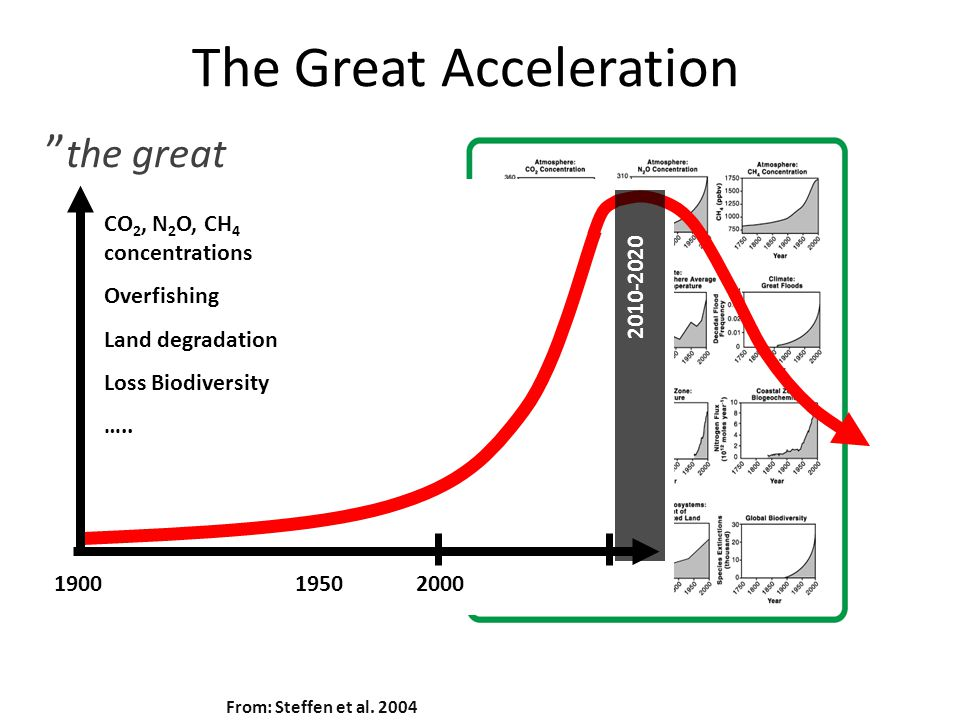 "The Great Acceleration From: Steffen et al. 2004 "" the great acceleration of the human entreprise"", Professor Will Steffen 1900 1950 2000 CO 2, N 2 O,"