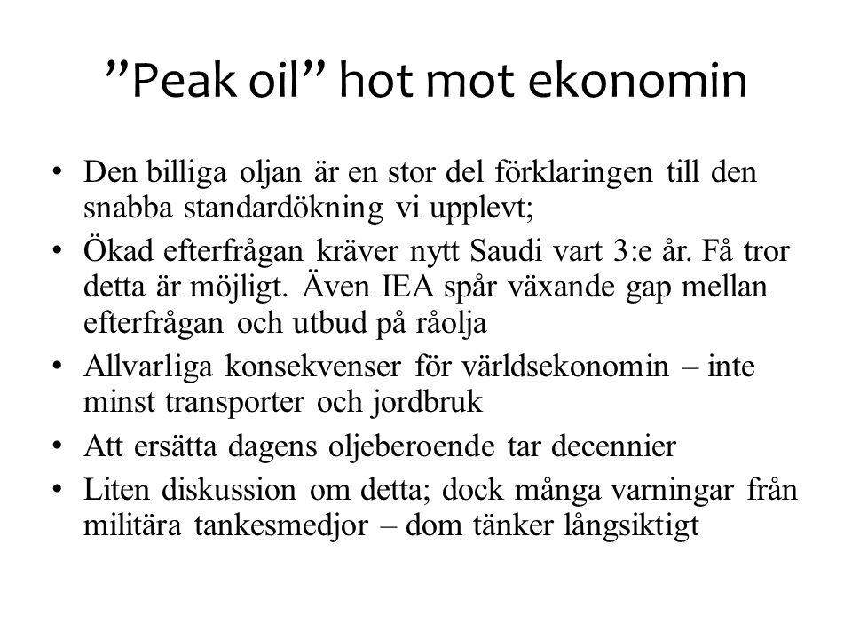 """""""Peak oil"""" hot mot ekonomin • Den billiga oljan är en stor del förklaringen till den snabba standardökning vi upplevt; • Ökad efterfrågan kräver nytt"""
