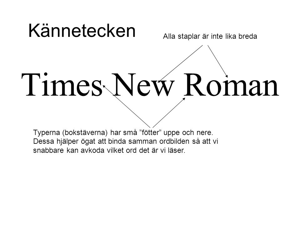 """Times New Roman Typerna (bokstäverna) har små """"fötter"""" uppe och nere. Dessa hjälper ögat att binda samman ordbilden så att vi snabbare kan avkoda vilk"""