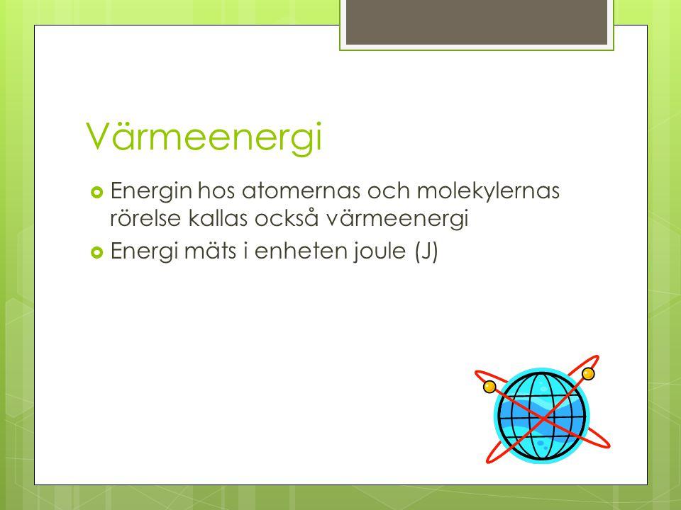 Värmeenergi  Energin hos atomernas och molekylernas rörelse kallas också värmeenergi  Energi mäts i enheten joule (J)