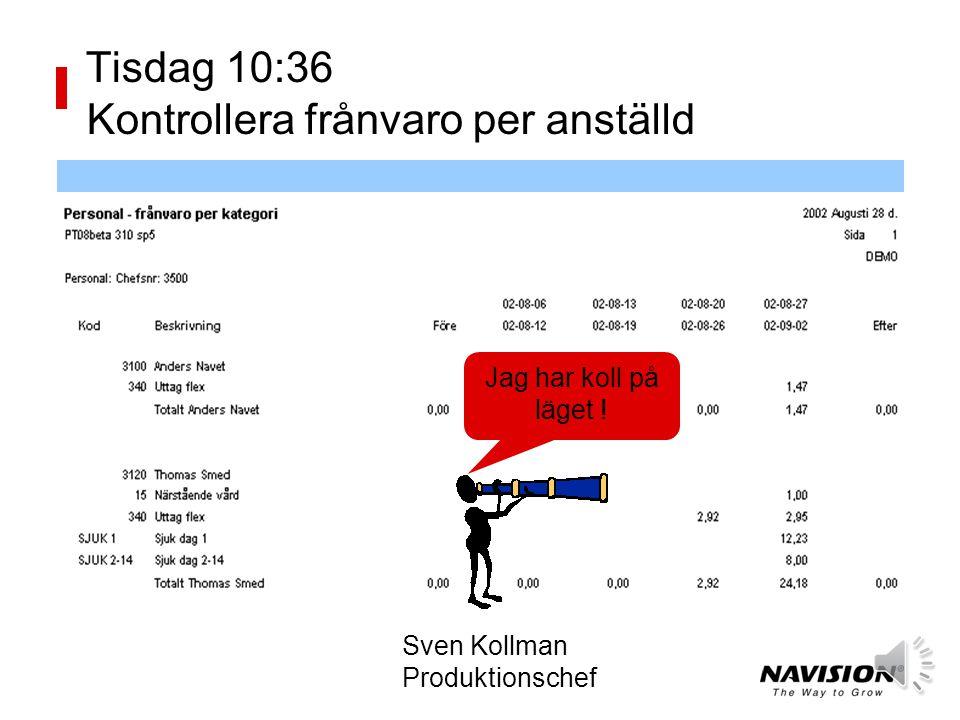 Tisdag 10:28 Kontrollera saldo per anställd Sven Kollman Produktionschef