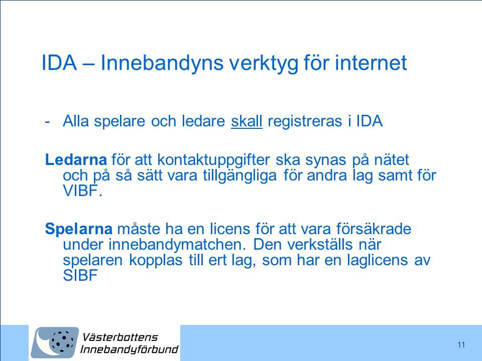 11 IDA – Innebandyns verktyg för internet -Alla spelare och ledare skall registreras i IDA Ledarna för att kontaktuppgifter ska synas på nätet och på