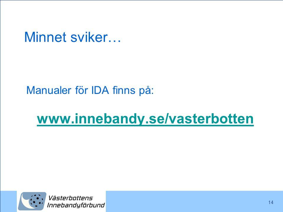 14 Minnet sviker… Manualer för IDA finns på: www.innebandy.se/vasterbotten www.innebandy.se/vasterbotten