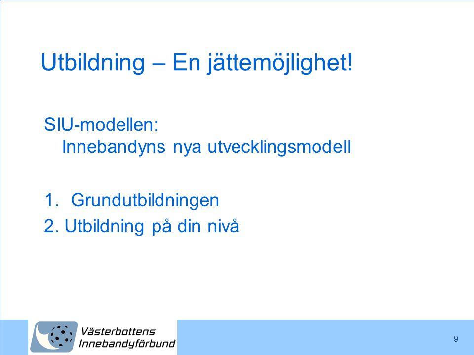 Utbildning – En jättemöjlighet! SIU-modellen: Innebandyns nya utvecklingsmodell 1.Grundutbildningen 2. Utbildning på din nivå 9