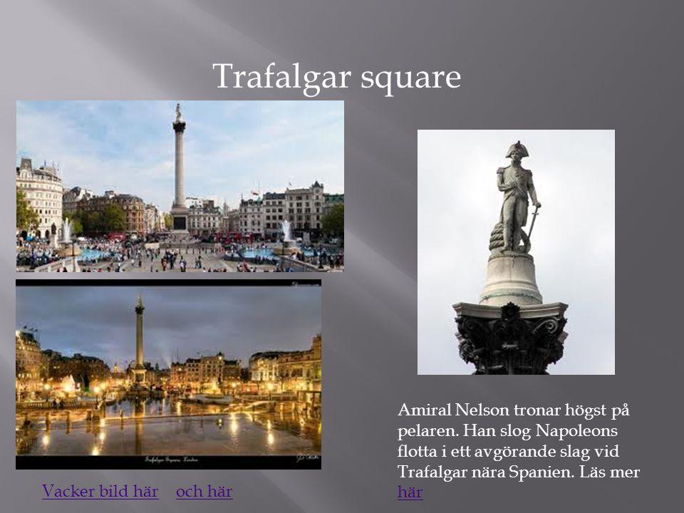 Trafalgar square Amiral Nelson tronar högst på pelaren. Han slog Napoleons flotta i ett avgörande slag vid Trafalgar nära Spanien. Läs mer här här Vac