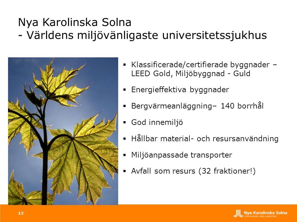 13 Nya Karolinska Solna - Världens miljövänligaste universitetssjukhus  Klassificerade/certifierade byggnader – LEED Gold, Miljöbyggnad - Guld  Ener