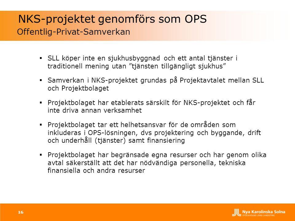"""16 NKS-projektet genomförs som OPS Offentlig-Privat-Samverkan  SLL köper inte en sjukhusbyggnad och ett antal tjänster i traditionell mening utan """"tj"""