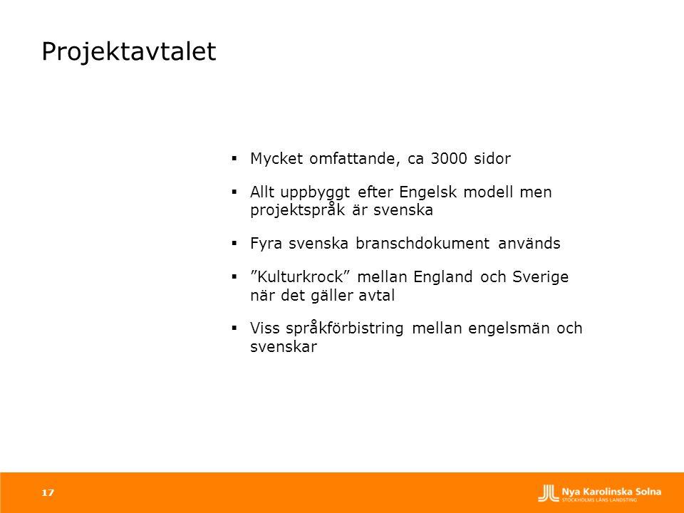 17 Projektavtalet  Mycket omfattande, ca 3000 sidor  Allt uppbyggt efter Engelsk modell men projektspråk är svenska  Fyra svenska branschdokument a