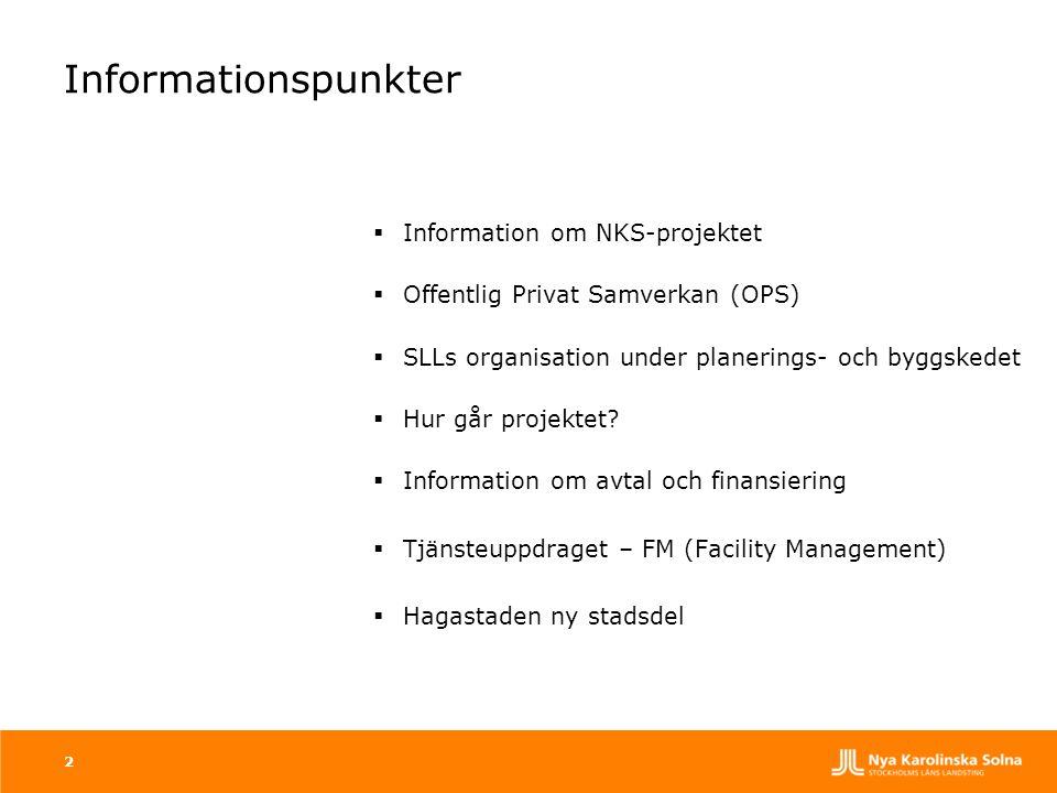 Informationspunkter  Information om NKS-projektet  Offentlig Privat Samverkan (OPS)  SLLs organisation under planerings- och byggskedet  Hur går p