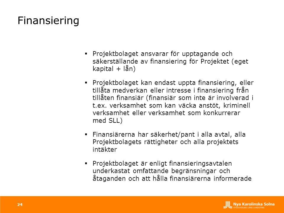 Finansiering  Projektbolaget ansvarar för upptagande och säkerställande av finansiering för Projektet (eget kapital + lån)  Projektbolaget kan endas