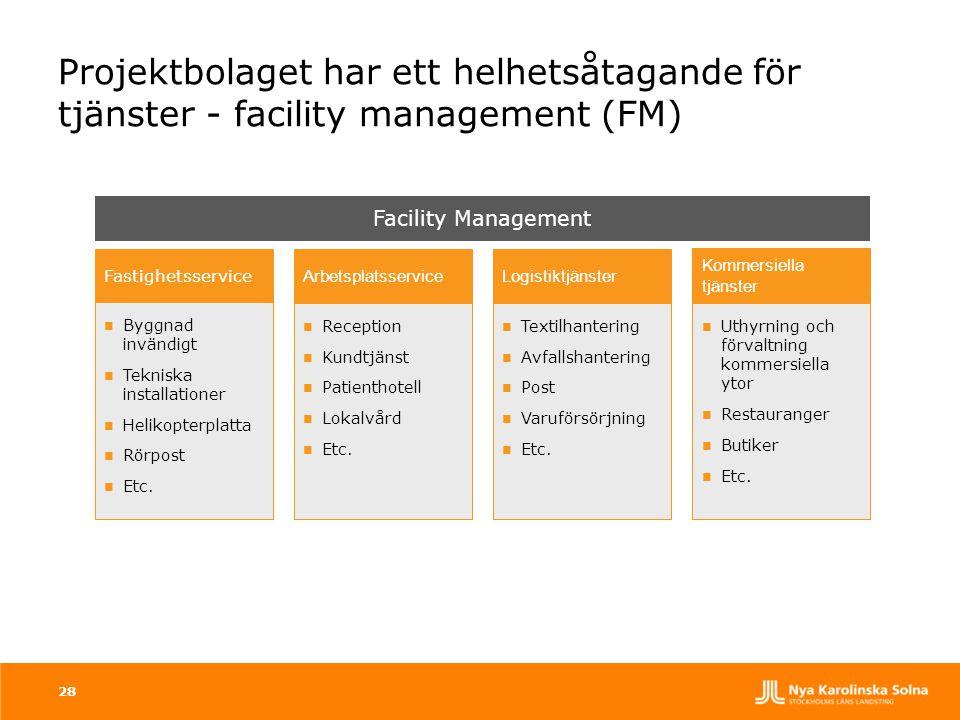 Projektbolaget har ett helhetsåtagande för tjänster - facility management (FM) 28 Facility Management  Byggnad invändigt  Tekniska installationer 