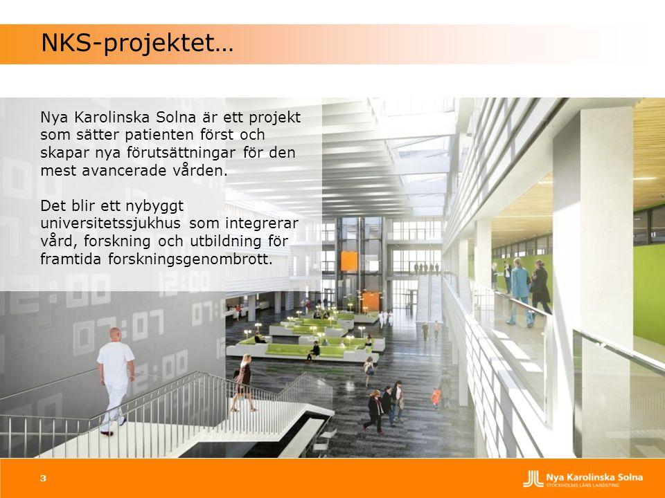 3 NKS-projektet… Nya Karolinska Solna är ett projekt som sätter patienten först och skapar nya förutsättningar för den mest avancerade vården. Det bli