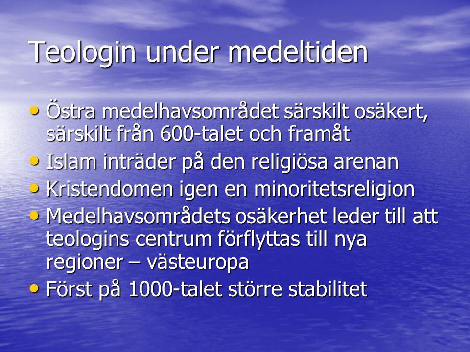 Teologin under medeltiden • Det forna romarriket får 3 större religiösa centrum • 1) Bysans, Konstantinopel –Östlig kristendom, grekiska, djup förankring i den patristiska traditionen –Athanasius och de kappodociska fäderna –K.