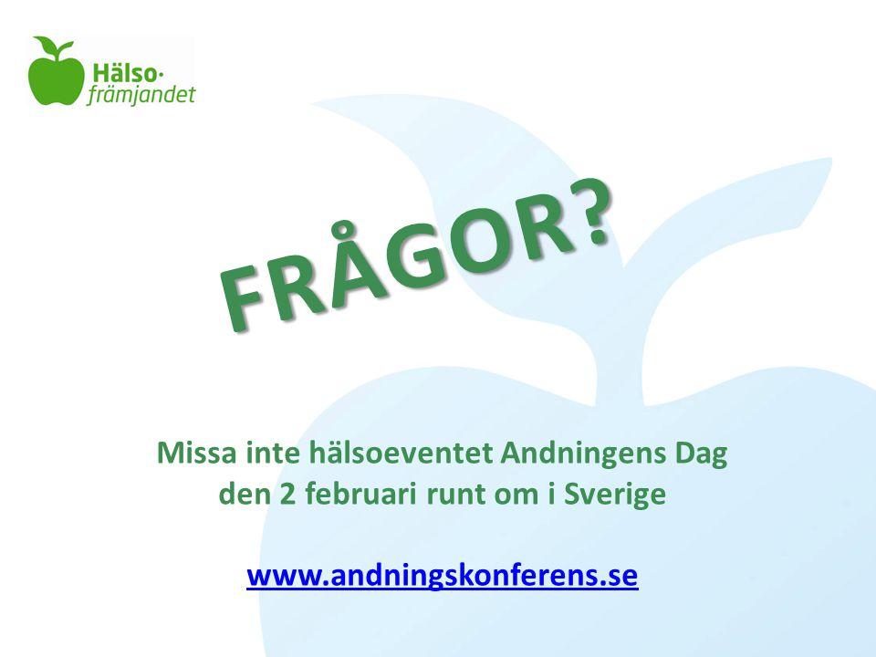 FRÅGOR? Missa inte hälsoeventet Andningens Dag den 2 februari runt om i Sverige www.andningskonferens.se