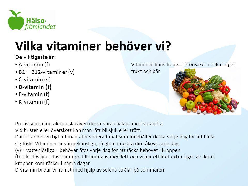 Vilka vitaminer behöver vi? De viktigaste är: • A-vitamin (f) • B1 – B12-vitaminer (v) • C-vitamin (v) • D-vitamin (f) • E-vitamin (f) • K-vitamin (f)