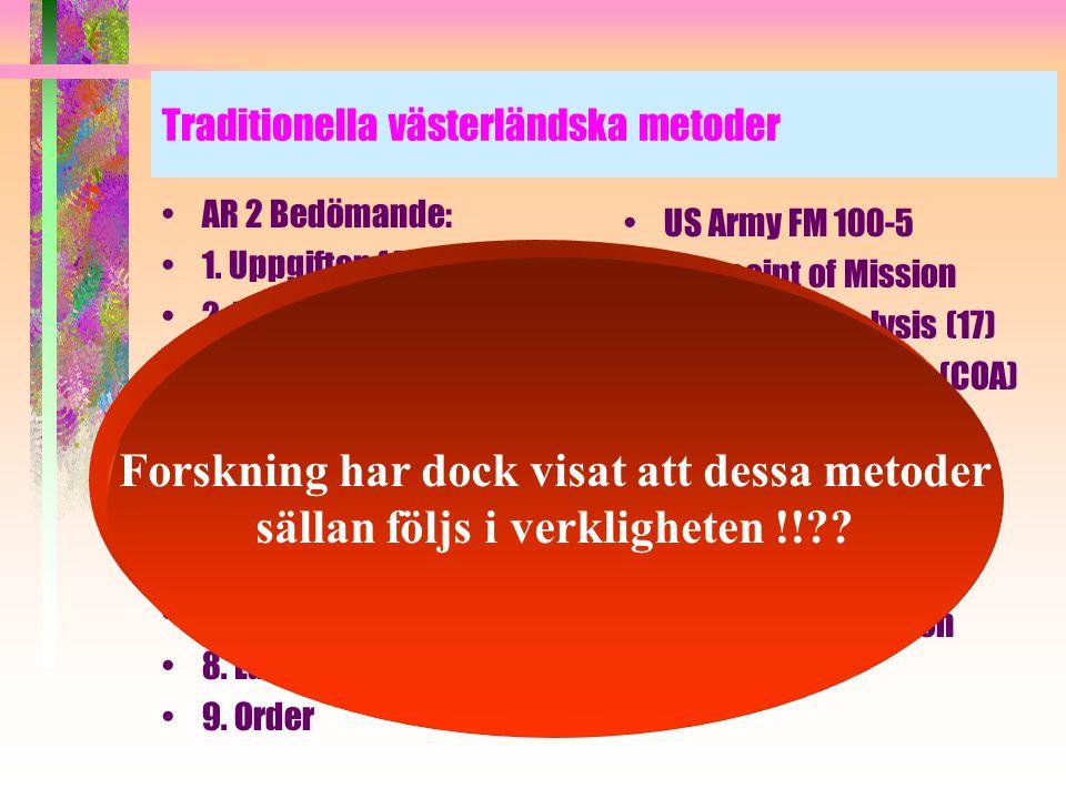 Traditionella västerländska metoder •AR 2 Bedömande: •1. Uppgiften (4 steg) •2. Utgångsvärden (17) •3 Överväganden (8) •4. Utveckling i stort av valt