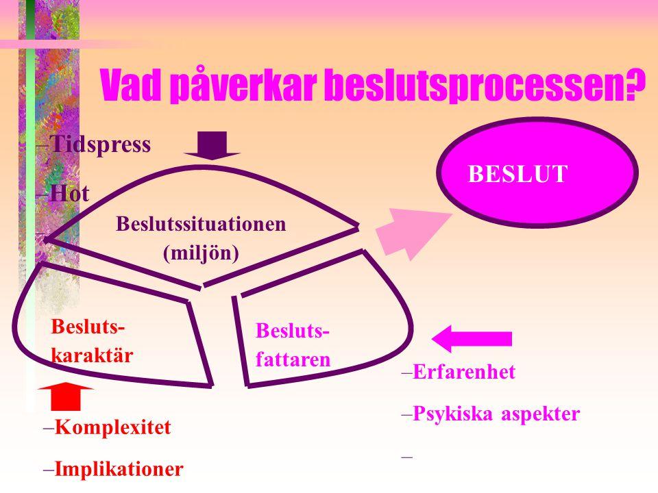 Vad påverkar beslutsprocessen? –Tidspress –Hot – Beslutssituationen (miljön) Besluts- karaktär –Komplexitet –Implikationer – Besluts- fattaren –Erfare