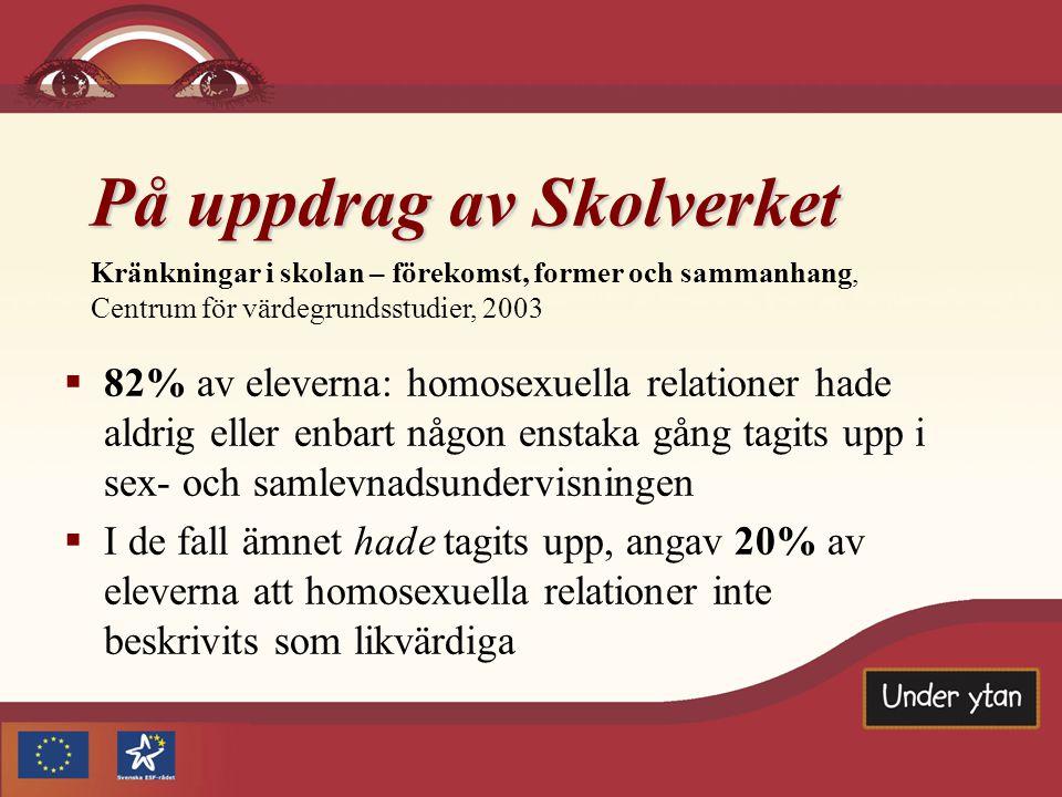 På uppdrag av Skolverket Kränkningar i skolan – förekomst, former och sammanhang, Centrum för värdegrundsstudier, 2003   82% av eleverna: homosexuel