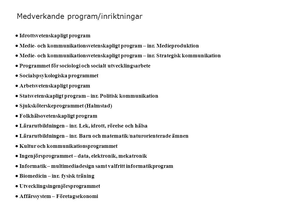  Idrottsvetenskapligt program  Medie- och kommunikationsvetenskapligt program – inr.