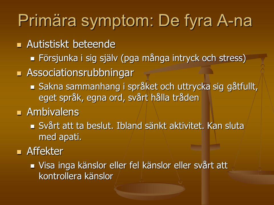 Primära symptom: De fyra A-na  Autistiskt beteende  Försjunka i sig själv (pga många intryck och stress)  Associationsrubbningar  Sakna sammanhang