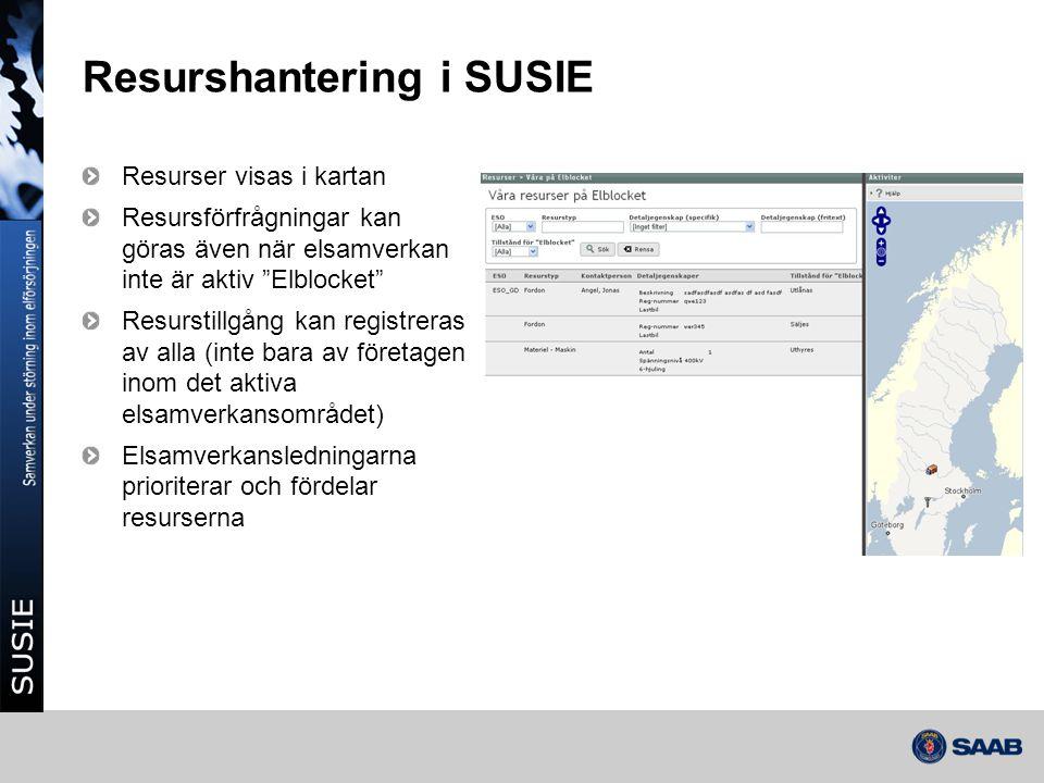 """Resurshantering i SUSIE Resurser visas i kartan Resursförfrågningar kan göras även när elsamverkan inte är aktiv """"Elblocket"""" Resurstillgång kan regist"""