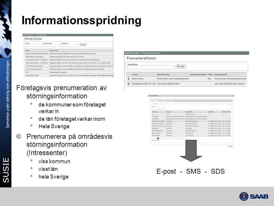 Informationsspridning Företagsvis prenumeration av störningsinformation • de kommuner som företaget verkar in • de län företaget verkar inom • Hela Sv