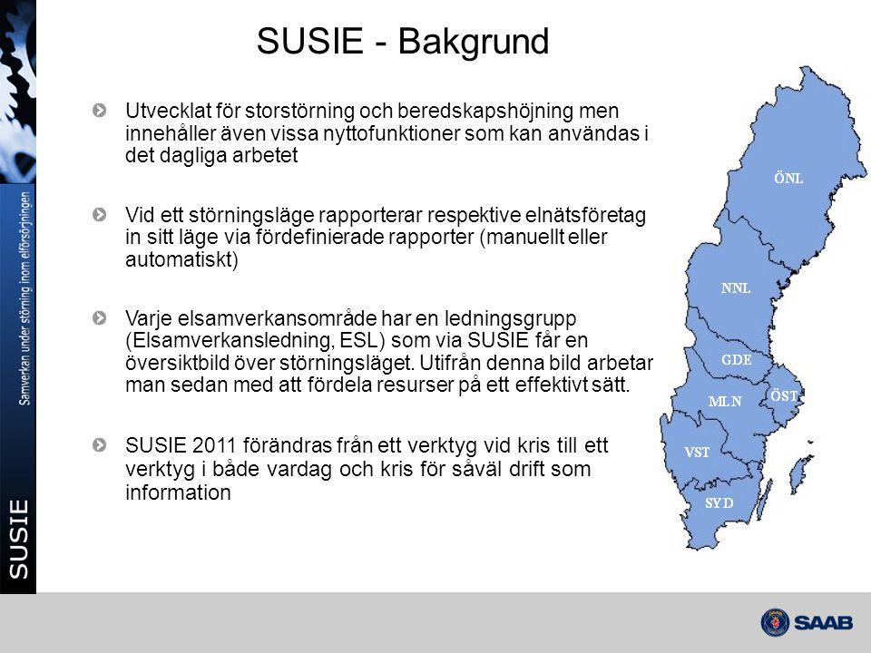 SUSIE - Bakgrund Utvecklat för storstörning och beredskapshöjning men innehåller även vissa nyttofunktioner som kan användas i det dagliga arbetet Vid