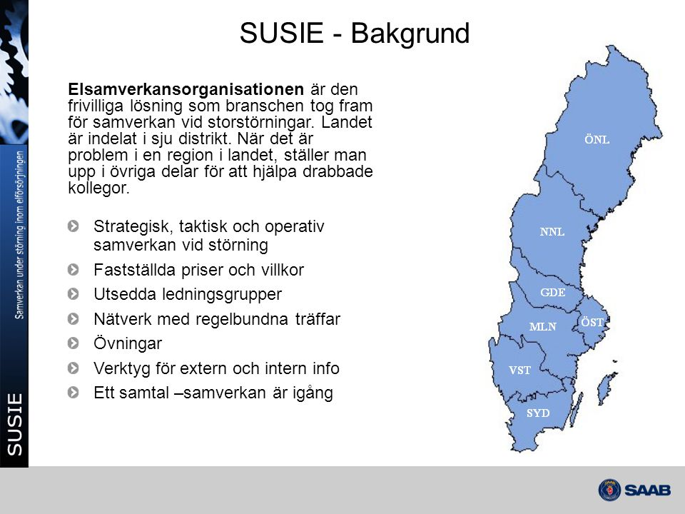 Historik 2002 – Prototyp för södra Sverige • Provdrift i elsamverkansområde syd och väst 2004 – Driftsättning av Nationellt SUSIE • Version 1.0 driftsattes 4/10 2005 – Stormen Gudrun 2006 – Version av SUSIE 2.0 • Karta, rapportering, SMS och observatörsroll 2007 – Stormen Per 2007 – Version av SUSIE 3.0 • Automatiska störningsrapporter 2009 – Förstudie SUSIE 2011 2012 - Driftsättning av nya SUSIE