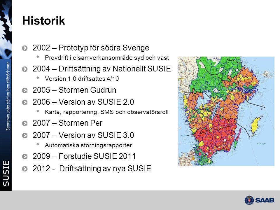 Historik 2002 – Prototyp för södra Sverige • Provdrift i elsamverkansområde syd och väst 2004 – Driftsättning av Nationellt SUSIE • Version 1.0 drifts