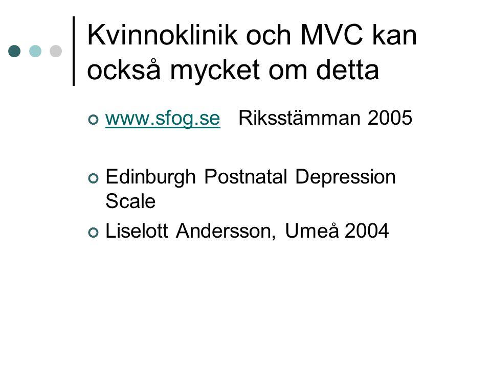 Kvinnoklinik och MVC kan också mycket om detta www.sfog.sewww.sfog.se Riksstämman 2005 Edinburgh Postnatal Depression Scale Liselott Andersson, Umeå 2