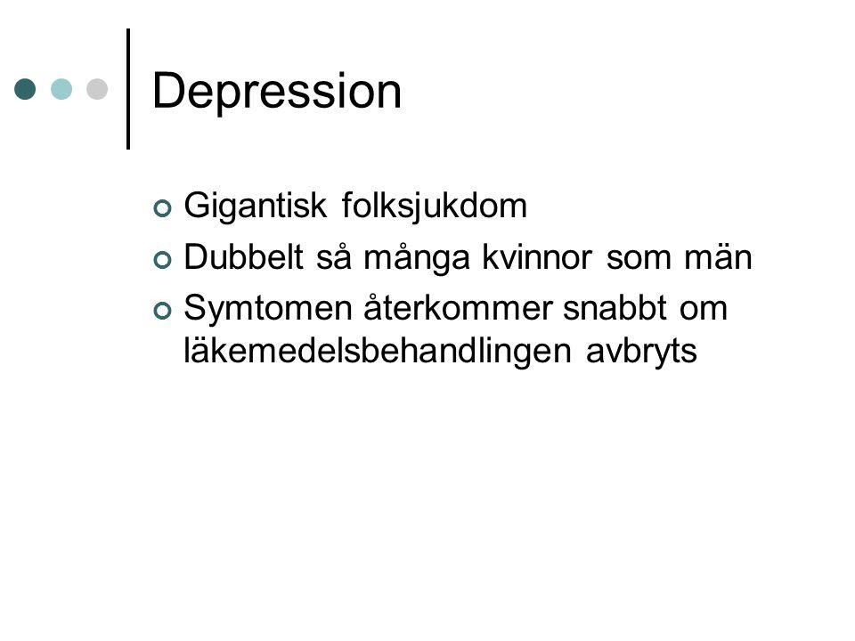 Depression Gigantisk folksjukdom Dubbelt så många kvinnor som män Symtomen återkommer snabbt om läkemedelsbehandlingen avbryts