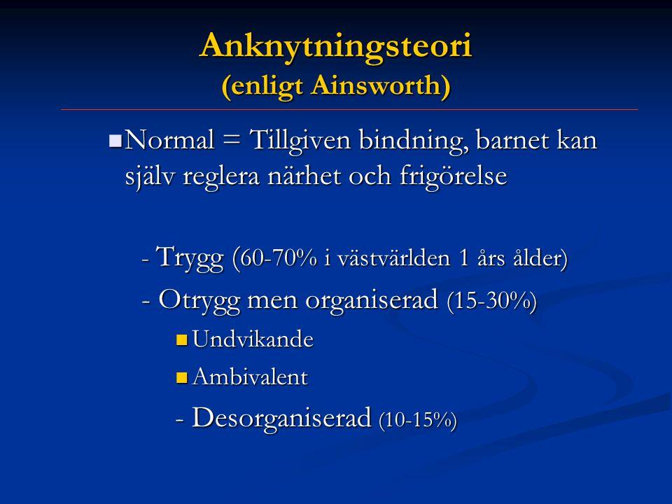 Anknytningsteori (enligt Ainsworth)  Normal = Tillgiven bindning, barnet kan själv reglera närhet och frigörelse - Trygg ( 60-70% i västvärlden 1 års ålder) - Otrygg men organiserad (15-30%)  Undvikande  Ambivalent - Desorganiserad (10-15%)