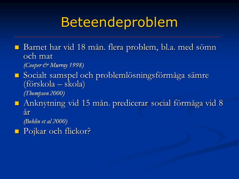 Beteendeproblem  Barnet har vid 18 mån. flera problem, bl.a. med sömn och mat (Cooper & Murray 1998)  Socialt samspel och problemlösningsförmåga säm