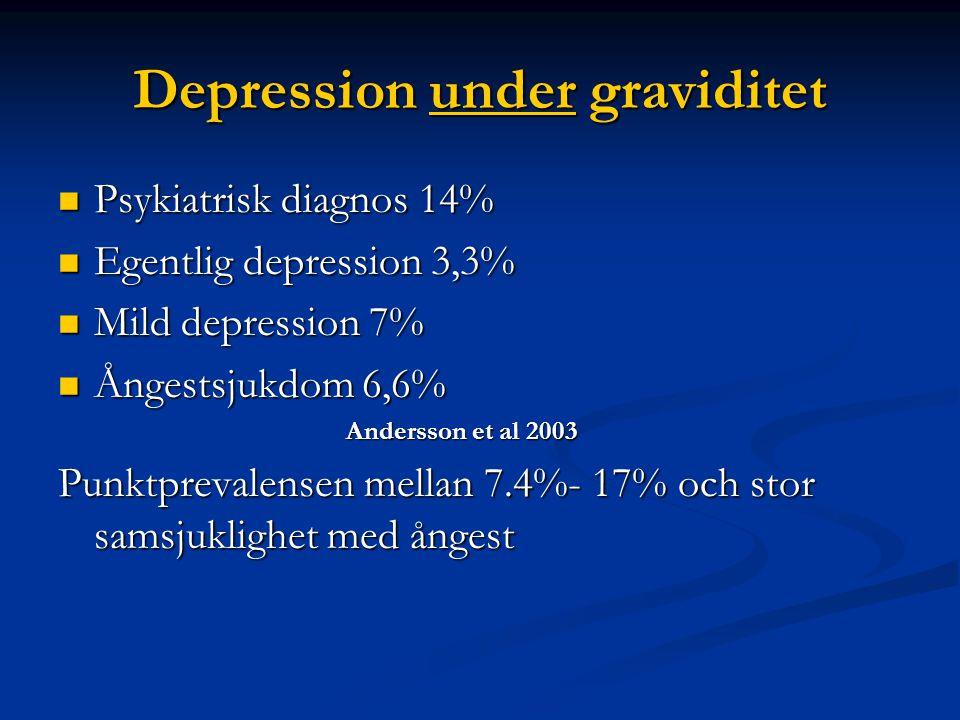 Depression under graviditet  Psykiatrisk diagnos 14%  Egentlig depression 3,3%  Mild depression 7%  Ångestsjukdom 6,6% Andersson et al 2003 Punktprevalensen mellan 7.4%- 17% och stor samsjuklighet med ångest