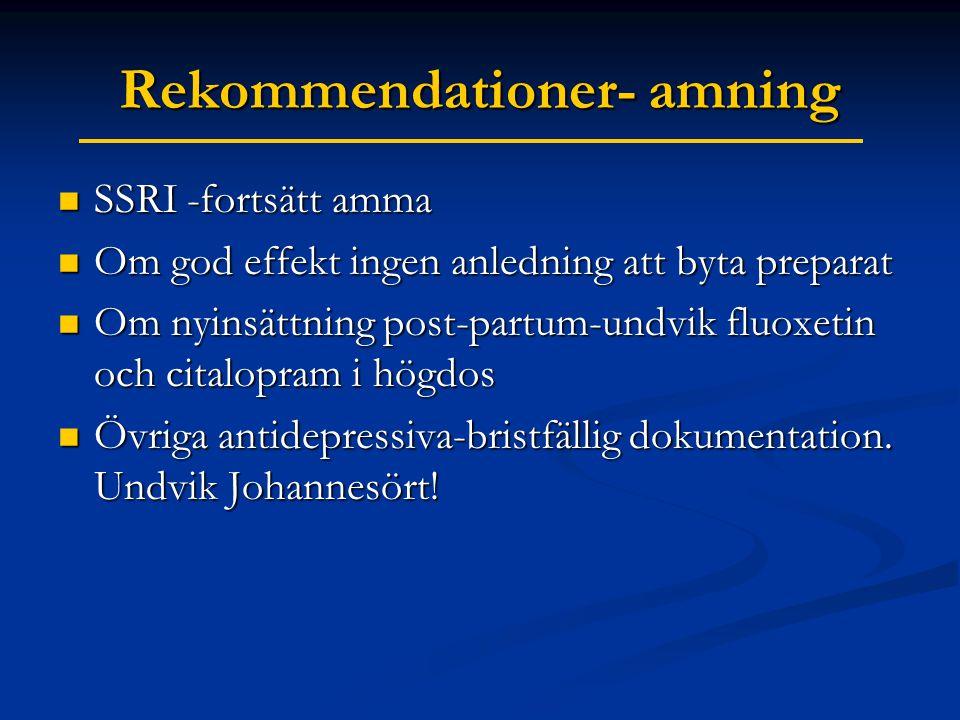 Rekommendationer- amning  SSRI -fortsätt amma  Om god effekt ingen anledning att byta preparat  Om nyinsättning post-partum-undvik fluoxetin och citalopram i högdos  Övriga antidepressiva-bristfällig dokumentation.