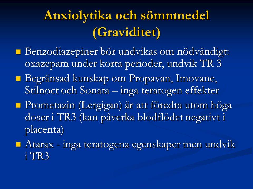 Anxiolytika och sömnmedel (Graviditet)  Benzodiazepiner bör undvikas om nödvändigt: oxazepam under korta perioder, undvik TR 3  Begränsad kunskap om Propavan, Imovane, Stilnoct och Sonata – inga teratogen effekter  Prometazin (Lergigan) är att föredra utom höga doser i TR3 (kan påverka blodflödet negativt i placenta)  Atarax - inga teratogena egenskaper men undvik i TR3