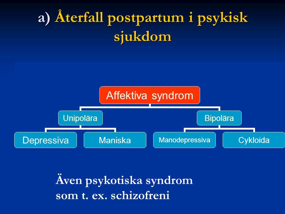 a) Återfall postpartum i psykisk sjukdom Även psykotiska syndrom som t. ex. schizofreni
