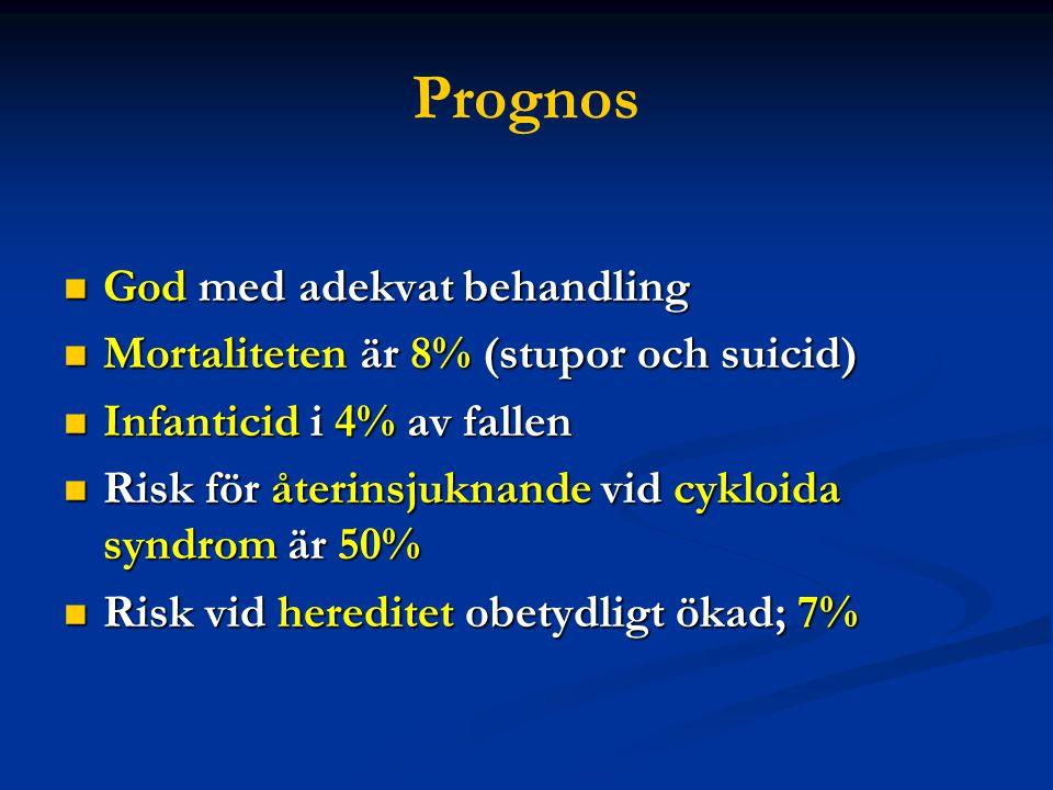 Prognos  God med adekvat behandling  Mortaliteten är 8% (stupor och suicid)  Infanticid i 4% av fallen  Risk för återinsjuknande vid cykloida syndrom är 50%  Risk vid hereditet obetydligt ökad; 7%