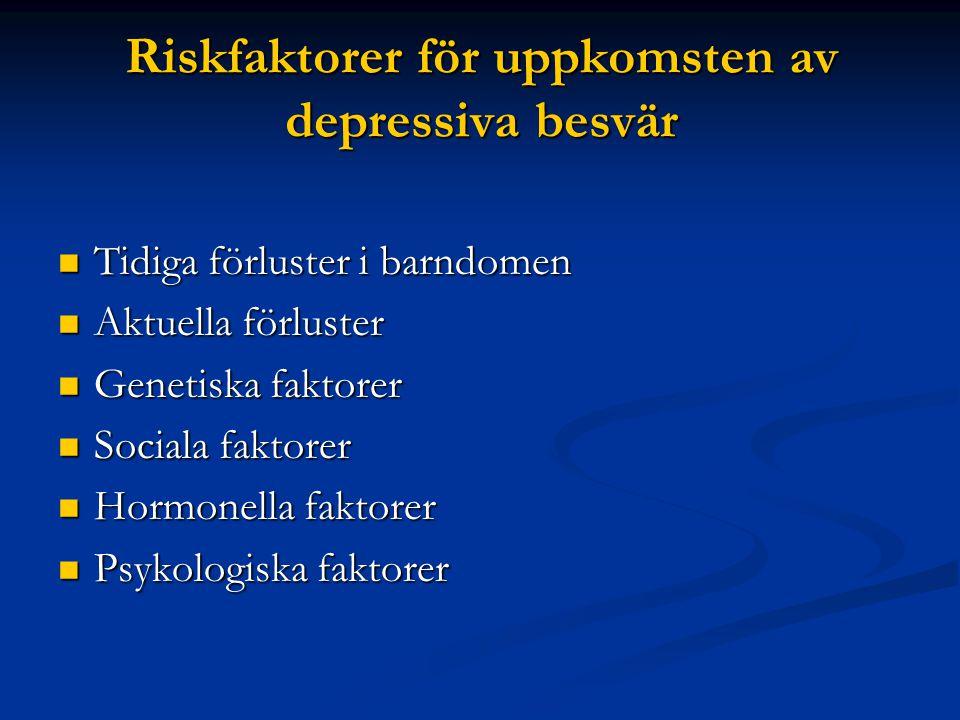 Riskfaktorer för uppkomsten av depressiva besvär  Tidiga förluster i barndomen  Aktuella förluster  Genetiska faktorer  Sociala faktorer  Hormonella faktorer  Psykologiska faktorer
