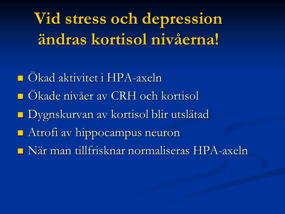 Vid stress och depression ändras kortisol nivåerna!  Ökad aktivitet i HPA-axeln  Ökade nivåer av CRH och kortisol  Dygnskurvan av kortisol blir uts