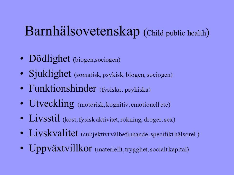 Barnhälsovetenskap ( Child public health ) •Dödlighet (biogen,sociogen) •Sjuklighet (somatisk, psykisk; biogen, sociogen) •Funktionshinder (fysiska, psykiska) •Utveckling (motorisk, kognitiv, emotionell etc) •Livsstil (kost, fysisk aktivitet, rökning, droger, sex) •Livskvalitet (subjektivt välbefinnande, specifikt hälsorel.) •Uppväxtvillkor (materiellt, trygghet, socialt kapital)