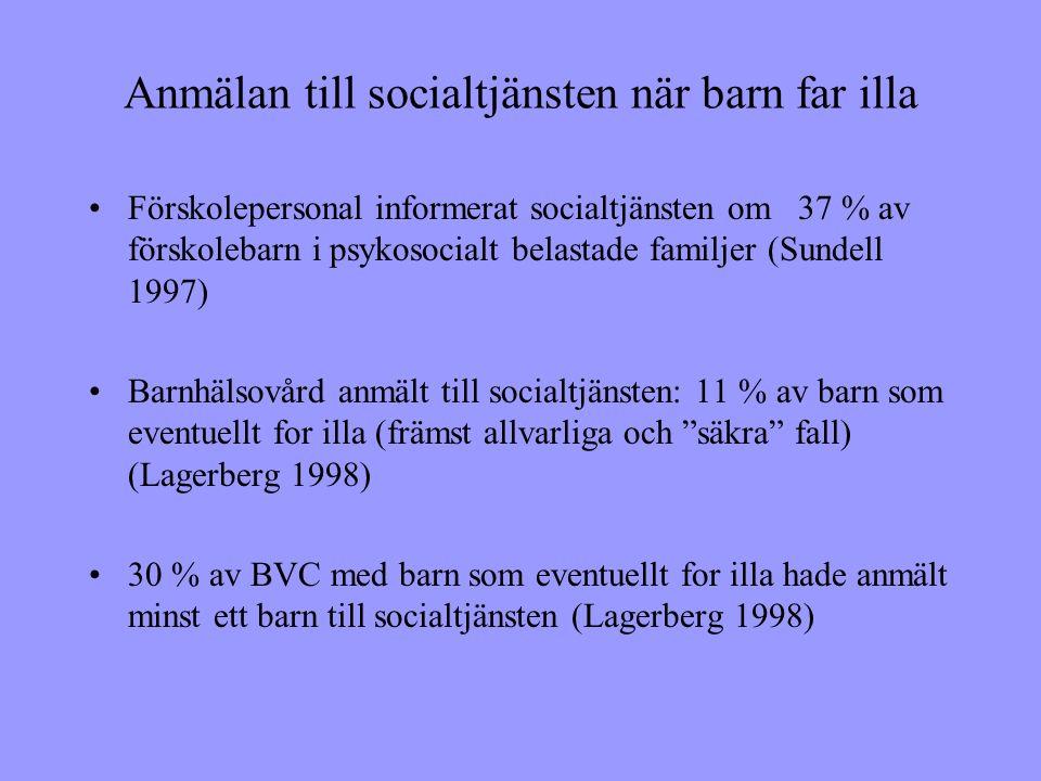 Anmälan till socialtjänsten när barn far illa •Förskolepersonal informerat socialtjänsten om 37 % av förskolebarn i psykosocialt belastade familjer (Sundell 1997) •Barnhälsovård anmält till socialtjänsten: 11 % av barn som eventuellt for illa (främst allvarliga och säkra fall) (Lagerberg 1998) •30 % av BVC med barn som eventuellt for illa hade anmält minst ett barn till socialtjänsten (Lagerberg 1998)