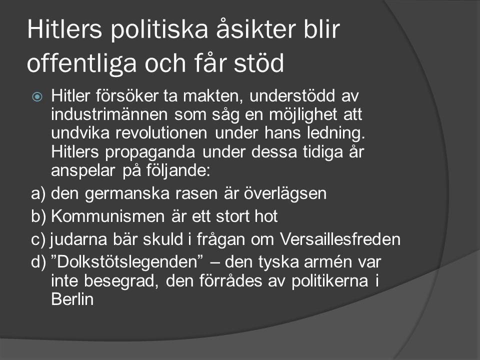 Hitlers politiska åsikter blir offentliga och får stöd  Hitler försöker ta makten, understödd av industrimännen som såg en möjlighet att undvika revolutionen under hans ledning.