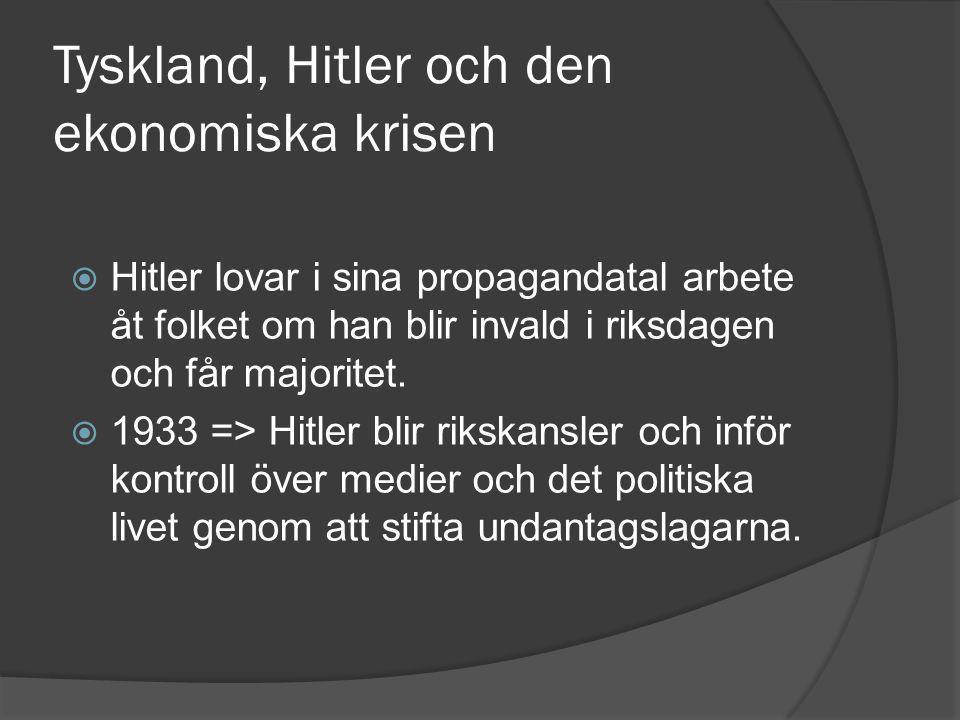 Tyskland, Hitler och den ekonomiska krisen  Hitler lovar i sina propagandatal arbete åt folket om han blir invald i riksdagen och får majoritet.