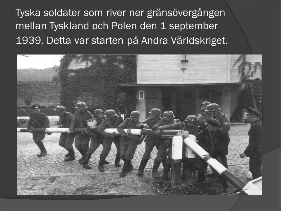 Tyska soldater som river ner gränsövergången mellan Tyskland och Polen den 1 september 1939.