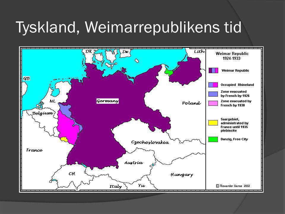 En turbulent tid  Tyskland var i upplösningstillstånd under början av 1920 – talet med politiska maktkamper som följd.