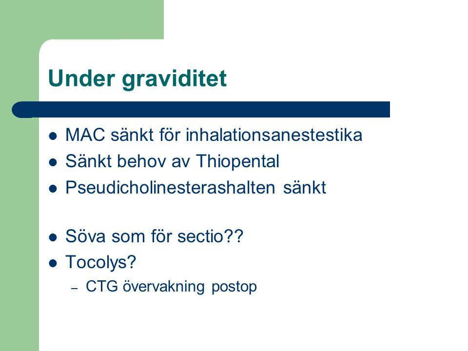 Under graviditet  MAC sänkt för inhalationsanestestika  Sänkt behov av Thiopental  Pseudicholinesterashalten sänkt  Söva som för sectio??  Tocoly