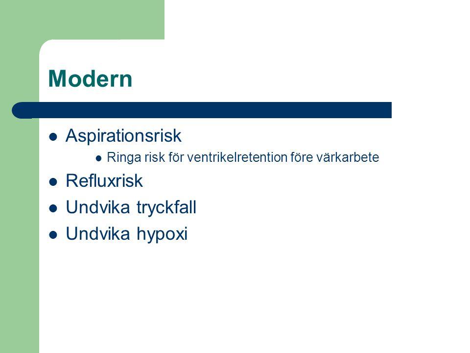 Modern  Aspirationsrisk  Ringa risk för ventrikelretention före värkarbete  Refluxrisk  Undvika tryckfall  Undvika hypoxi